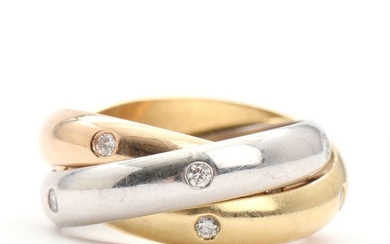 """Cartier: """"Trinity"""". A diamond ring set with numerous brilliant-cut diamonds, mounted in 18k tri-colour gold. Size 49. 2007."""