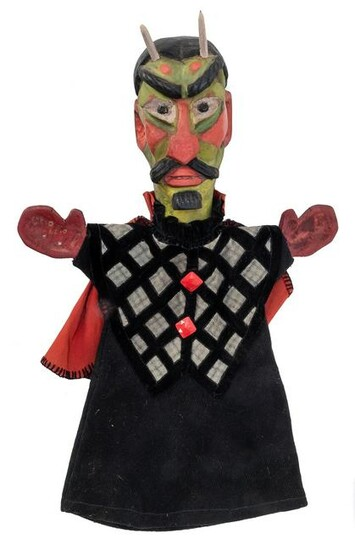 Carved Mephistopheles Wooden Hand Puppet. 20th century.