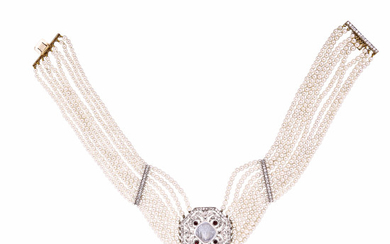 Carved Moonstone and Diamond Collier de Chien
