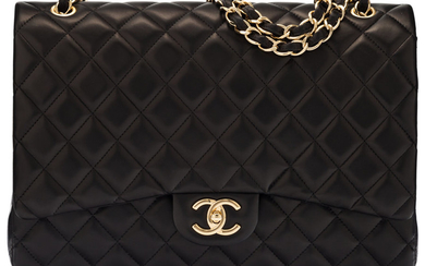 Chanel Black Quilted Lambskin Leather Jumbo Double Flap Bag...