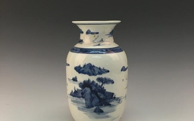 Chinese Blue-White 'Landscape' Porcelain Vase With