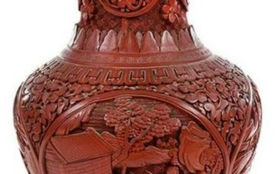 Chinese Cinnabar Red Vase