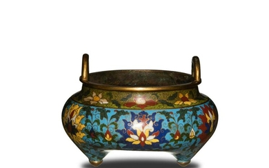 Chinese Cloisonne Tripod Incense Burner, 19th Century
