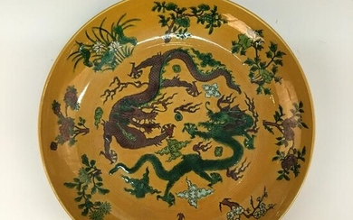 Chinese Susancai 'Dragon' Plate, Kangxi Mark