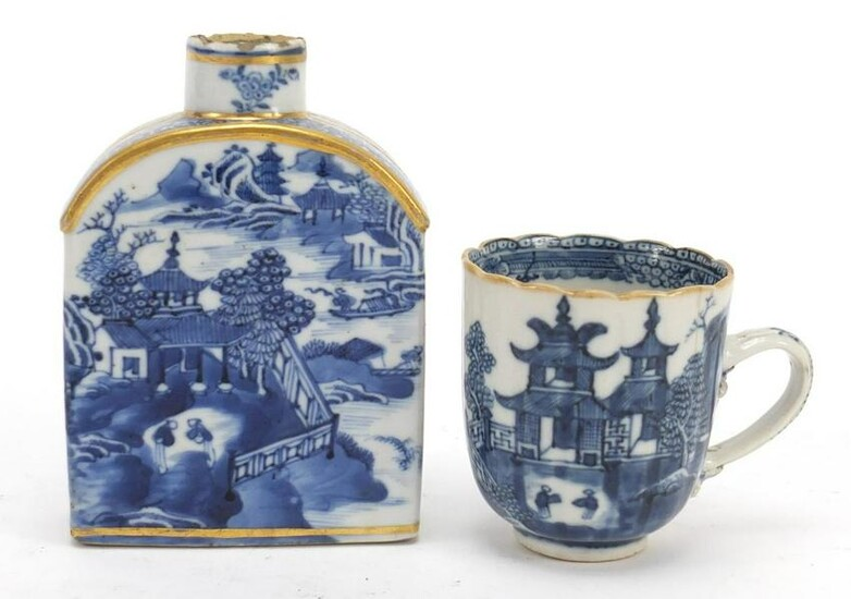 Chinese blue and white porcelain tea caddy and cup