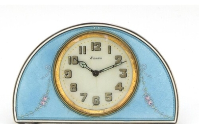 Continental silver and blue guilloche enamel eight day strut...
