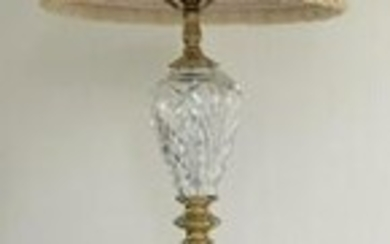 Cut Crystal, Brass & Marble Standing Lamp w Shade
