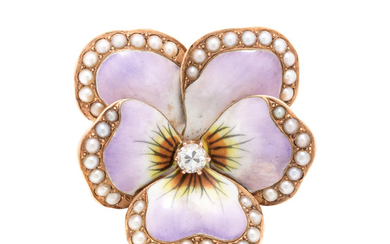 DIAMOND, SEED PEARL AND POLYCHROME ENAMEL PANSY PENDANT/BROOCH