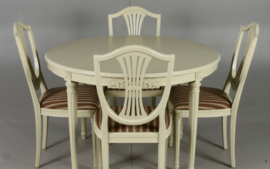 DINING FURNITURE, 7 parts, Gustavian style, 20th century.
