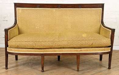 DIRECTOIRE STYLE UPHOLSTERED FRENCH WALNUT SOFA