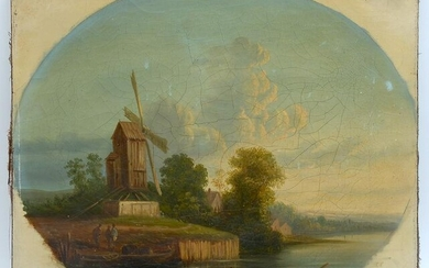 19TH CENTURY DUTCH RIVER PAINTING WITH WINDMILL