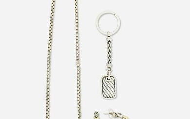 David Yurman necklace, earrings and keychain