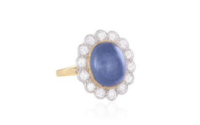 Description A SAPPHIRE AND DIAMOND CLUSTER RING, The oval-shaped...