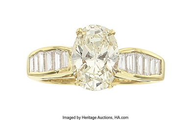 Diamond, Gold Ring, Moboco The ring features an oval-shaped...