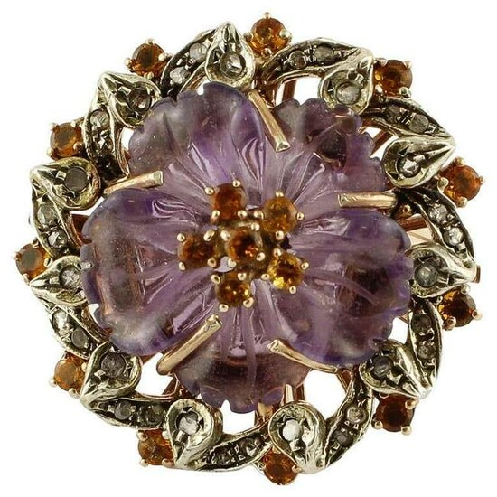 Diamonds Blue Sapphires Amethyst Rose Gold and Silver