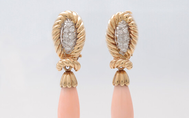 Diamonds and angel skin coral long earrings.