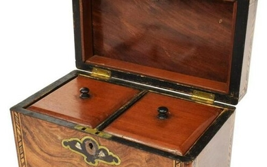 ENGLISH MOTHER OF PEARL INLAID TEA CADDY