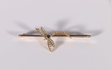 Edwardian pin with diamond and aquamarine dragonfly in yello...