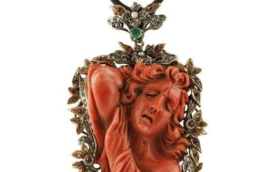 Engraved Face on Red Coral, Diamonds, Emeralds