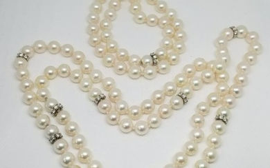 Exquisite set of 3 AAA 9 mm pearl necklaces with 14K