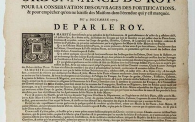 """FORTIFICATIONS. 1713. """"Ordonnance du Roy"""" (LOUIS XIV) for the conservation of the works of the Fortifications & to prevent the building of Houses in the area marked therein. December 9, 1713."""" Vignette royal and lettering"""