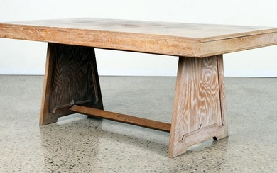 FRENCH CERUSED OAK DINING TABLE C. 1940