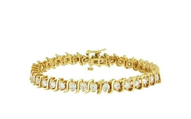 Fancy Yellow Gold with Diamonds Tennis Bracelet