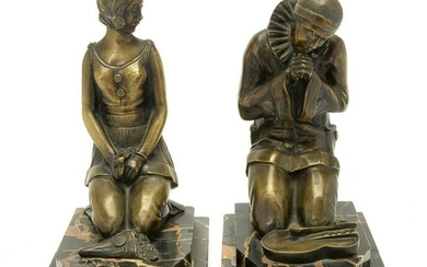 French Art Deco Period Bronze Bookends of Pierrot and