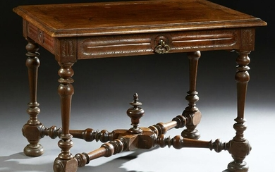 French Provincial Carved Walnut Writing Table 19th c.