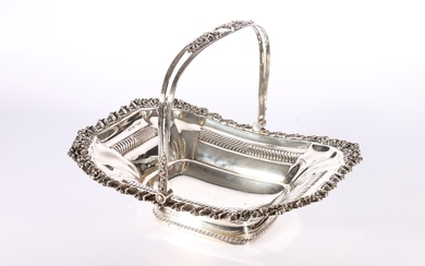 George III or IV silver swing handled basket with repousse s...