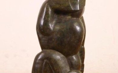 Green patinated bronze statue of abstracted anthropomorphic figure,...