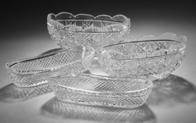 Group of (4) American cut crystal serving bowls