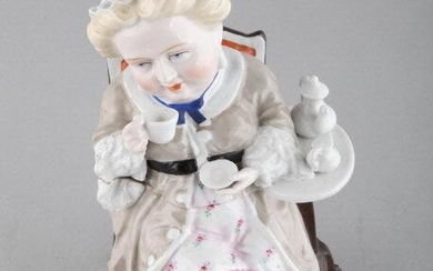 HAND PAINTED PORCELAIN FIGURAL TEA CADDY