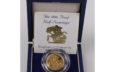 Half Sovereign 1986 Proof FDC boxed as issued