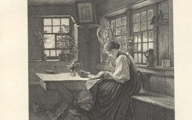 Hasemann, Young Girl Sewing Tranquil Hour 1888 engraved