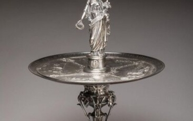 "IMPORTANT PRICE CUP by CHRISTOFLE, 1865 in silver, awarded by the Ministry of Agriculture, Trade and Public Works. Circular cup with stamped decoration of four scenes of field work with the captions ""GRAZING, MOVING, SELLING, WORKING. ""Inscribed on..."