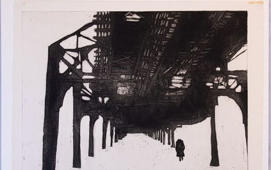 """GERSON LEIBER (AMERICAN 1921 - 2018) ETCHING ON WOVE PAPER, 1957, H 17.875"""", W 23.625"""", UNDER THE EL"""