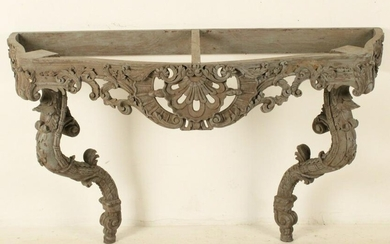 LOUIS XV STYLE CARVED POLYCHROME WOOD CONSOLE