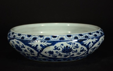 Large Chinese Blue and White Porcelain Bowl,Mark