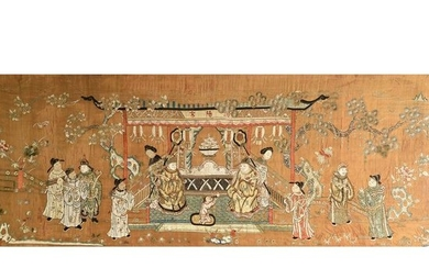 Large Chinese Framed Embroidered Figural silk Panel.