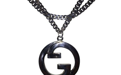 Large Silver Plated Gucci GG Pendant Necklace