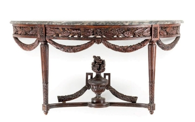 Large carved walnut half-moon console with flower decoration,...