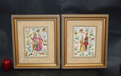 Lot of 2 Belgian Gobelin petit point tapestries