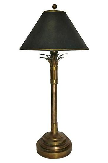MID-CENTURY MODERN Brass Palm Table Lamp