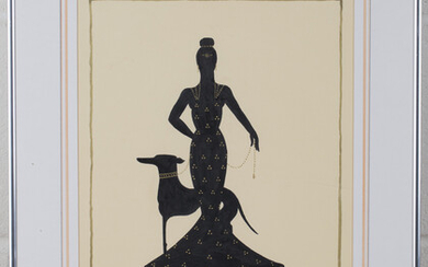 Manner of Erté - Art Deco Women with Dogs, a pair of pen and inks with gilt, each 39cm x 26.5cm