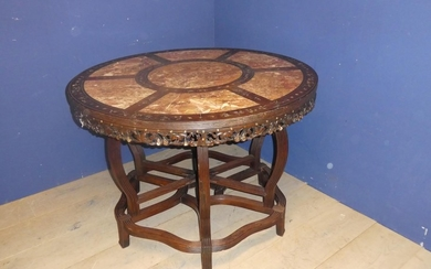 Marble inlaid table 117d cm