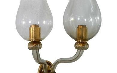 Mid-Century Italian Glass & Brass 2- Arm Sconce