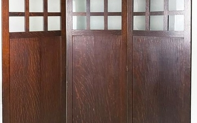 Mission Style 3 Panel Wood Screen Room Divider