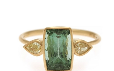Natascha Trolle: A tourmaline and diamond ring set with a green tourmaline flanked by two diamonds, totalling app. 0.34 ct., mounted in 18k gold. Size 57.