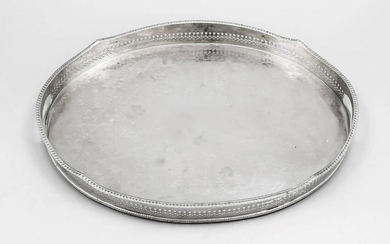 Oval tray, 20th century, plated, on 4 feet, gallery